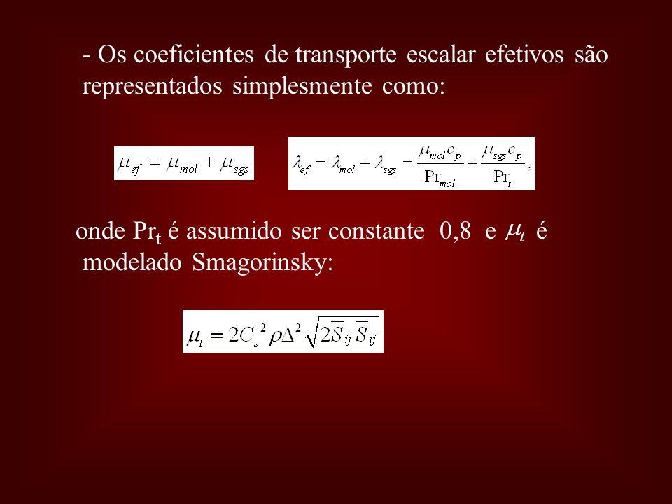 - Os coeficientes de transporte escalar efetivos são representados simplesmente como: