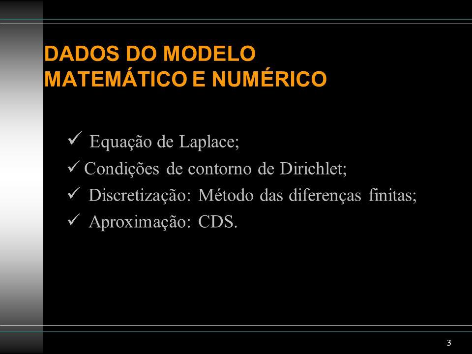 DADOS DO MODELO MATEMÁTICO E NUMÉRICO