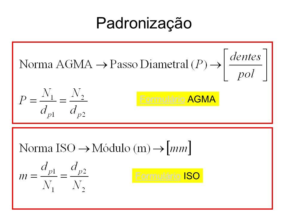 Padronização Formulário AGMA Formulário ISO