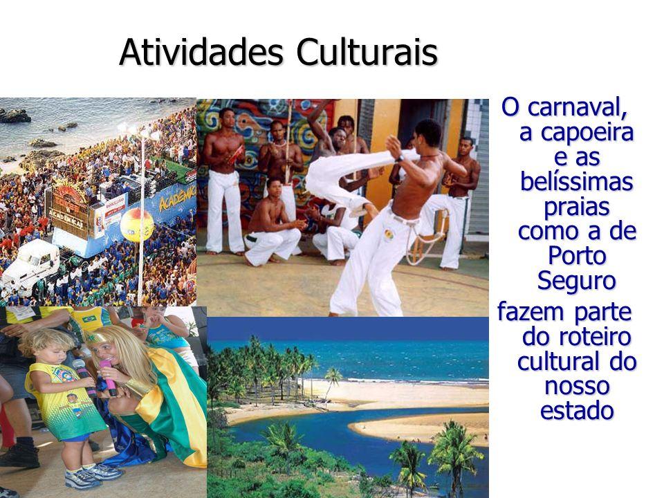 Atividades CulturaisO carnaval, a capoeira e as belíssimas praias como a de Porto Seguro.