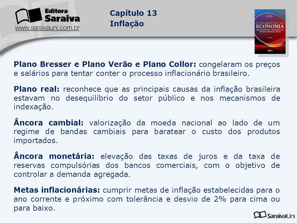 Plano Bresser e Plano Verão e Plano Collor: congelaram os preços e salários para tentar conter o processo inflacionário brasileiro.