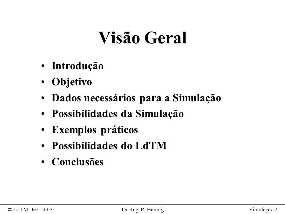 Visão Geral Introdução Objetivo Dados necessários para a Simulação