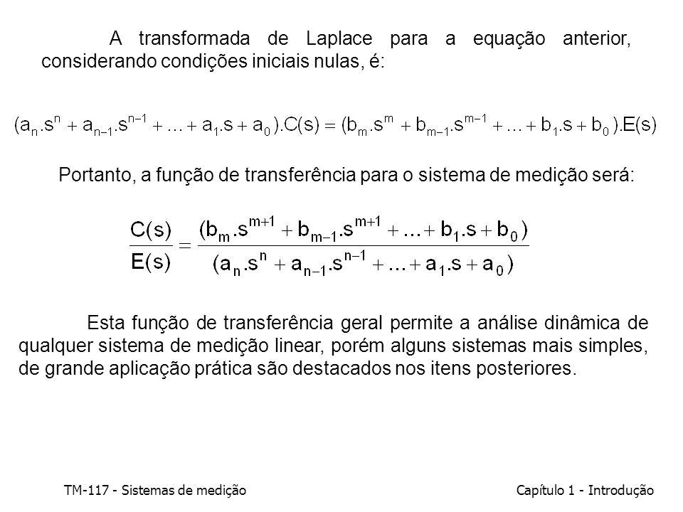 A transformada de Laplace para a equação anterior, considerando condições iniciais nulas, é: