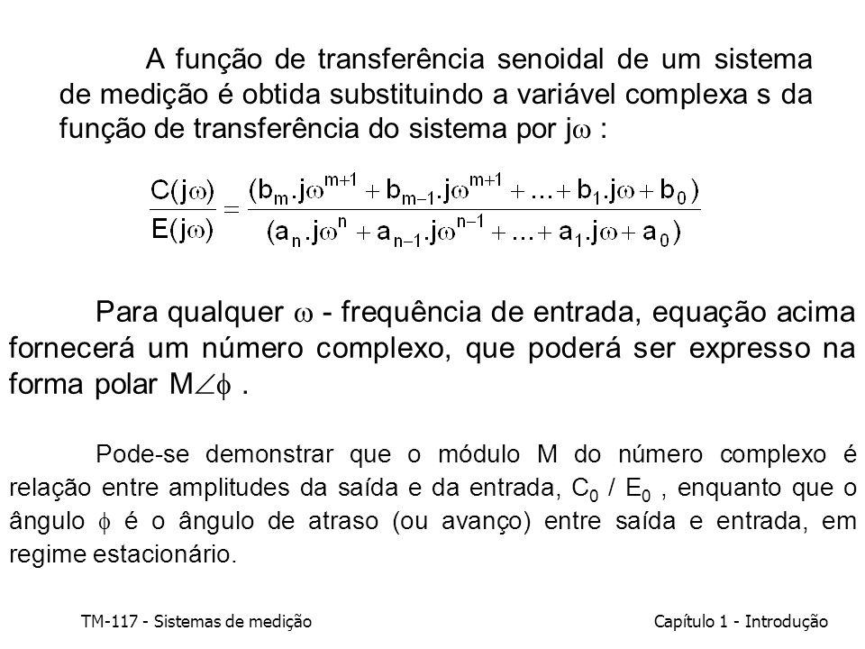 A função de transferência senoidal de um sistema de medição é obtida substituindo a variável complexa s da função de transferência do sistema por j :