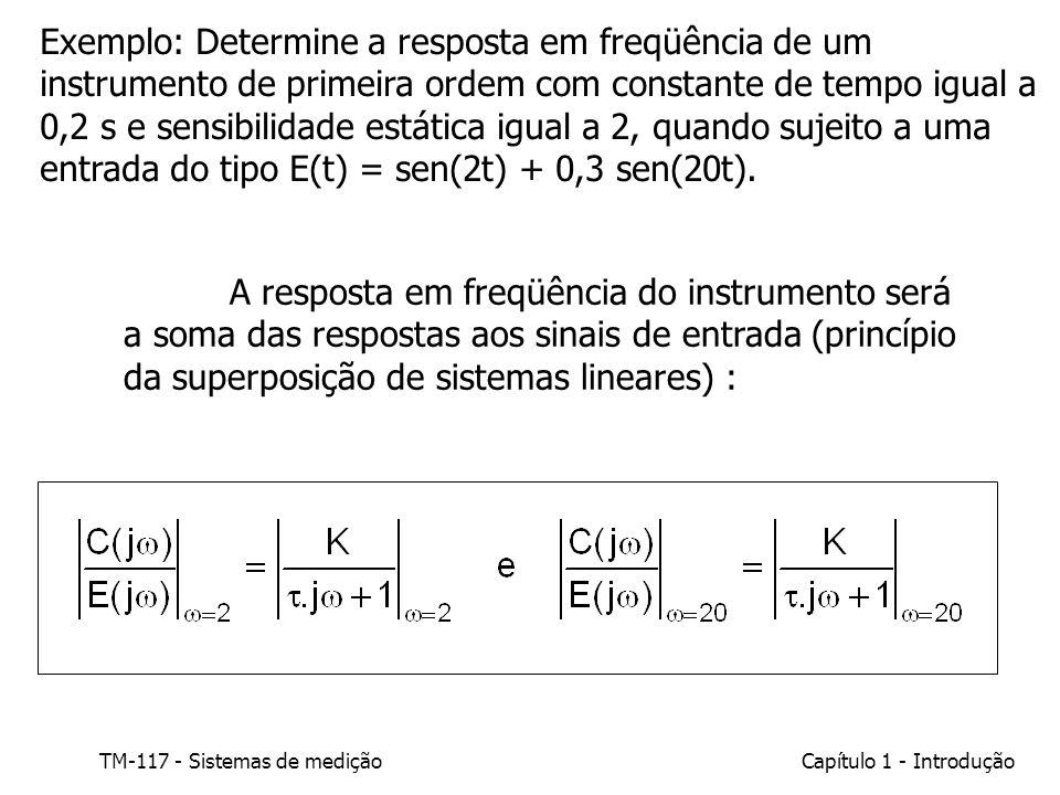 Exemplo: Determine a resposta em freqüência de um instrumento de primeira ordem com constante de tempo igual a 0,2 s e sensibilidade estática igual a 2, quando sujeito a uma entrada do tipo E(t) = sen(2t) + 0,3 sen(20t).
