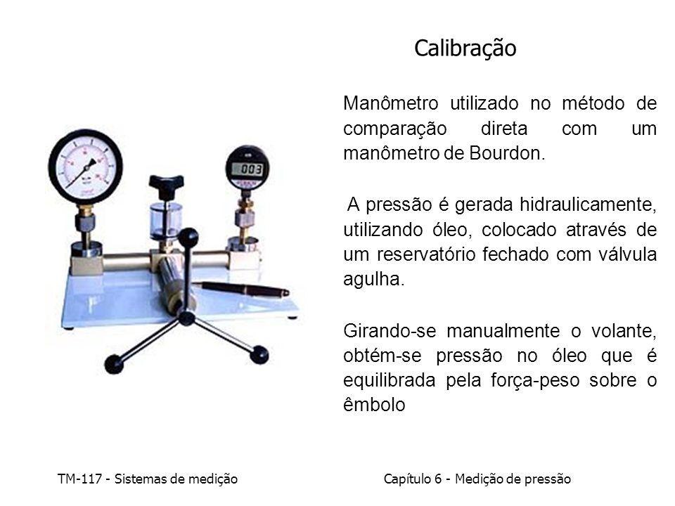 Calibração Manômetro utilizado no método de comparação direta com um manômetro de Bourdon.