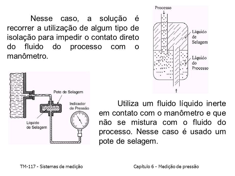 Nesse caso, a solução é recorrer a utilização de algum tipo de isolação para impedir o contato direto do fluido do processo com o manômetro.