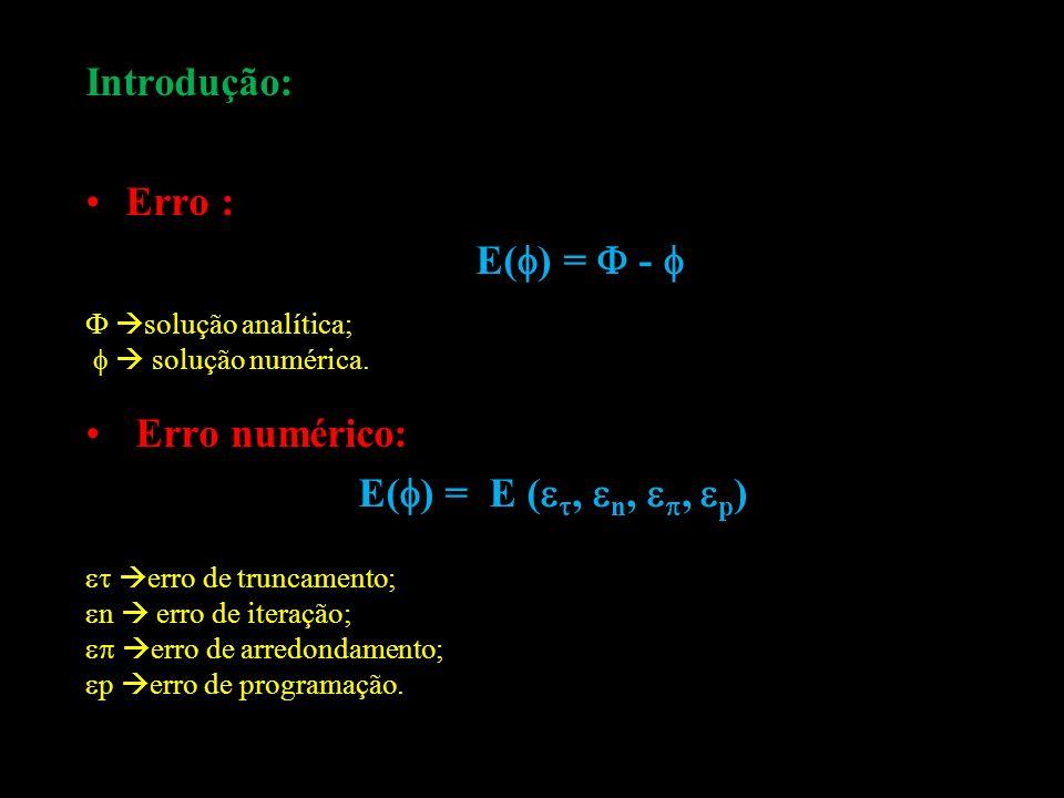 Introdução: Erro : E() =  -  Erro numérico: