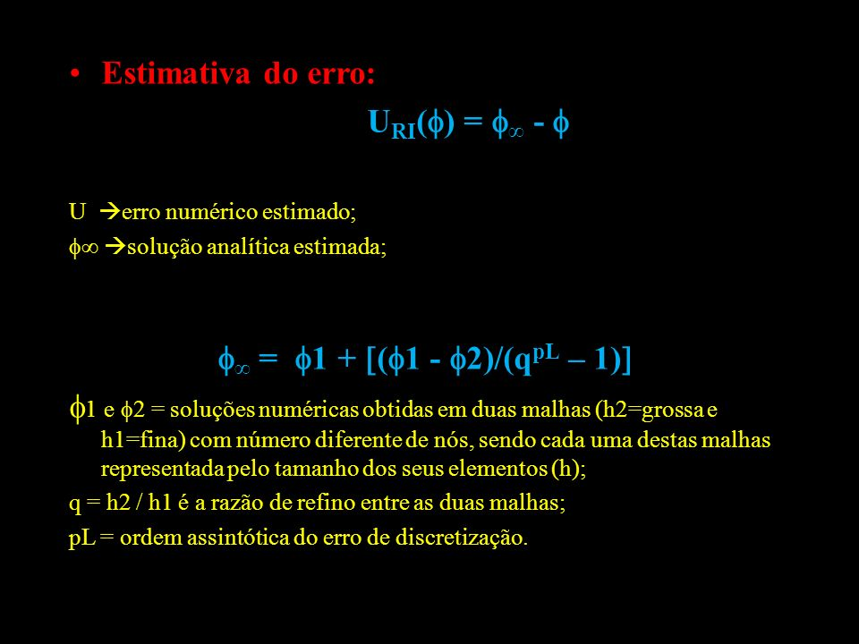 Estimativa do erro: URI() = ∞ -  ∞ = 1 + (1 - 2)/(qpL – 1)