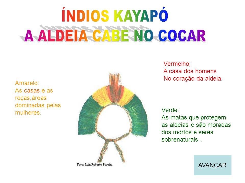 ÍNDIOS KAYAPÓ A ALDEIA CABE NO COCAR Vermelho: A casa dos homens