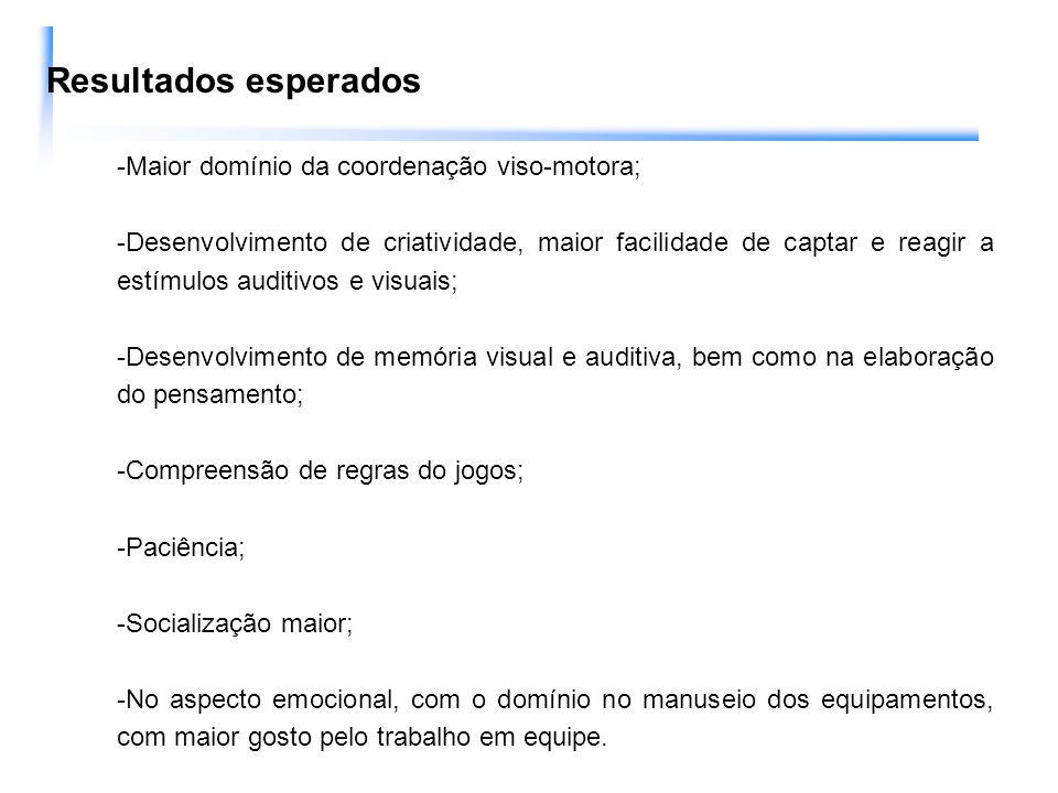 Resultados esperados -Maior domínio da coordenação viso-motora;