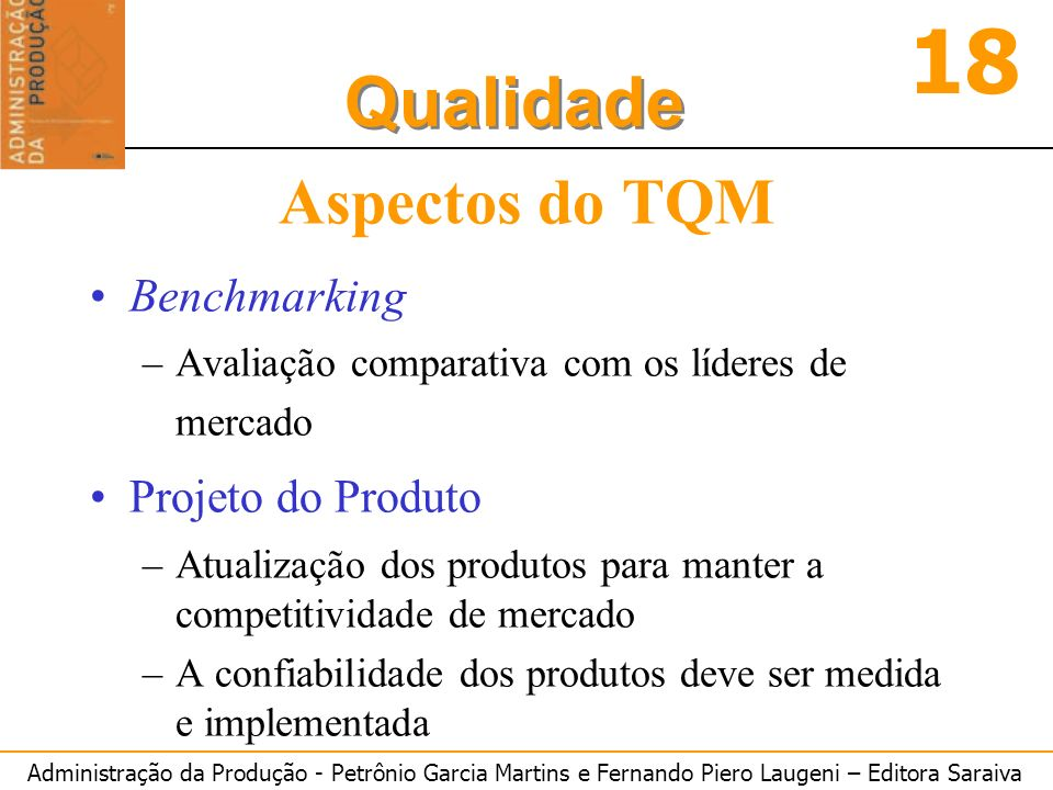 Aspectos do TQM Benchmarking Projeto do Produto