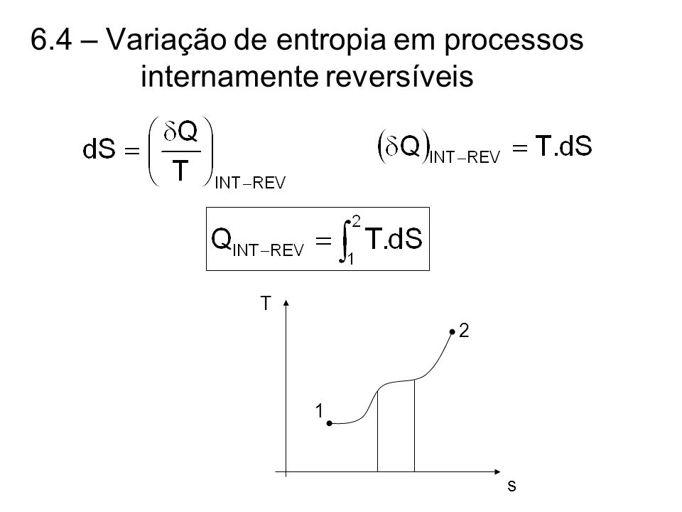 6.4 – Variação de entropia em processos internamente reversíveis