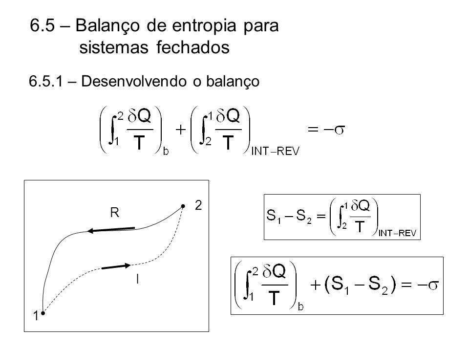6.5 – Balanço de entropia para sistemas fechados