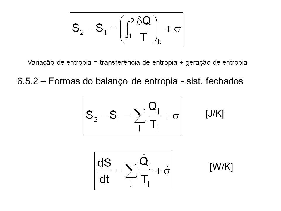 6.5.2 – Formas do balanço de entropia - sist. fechados