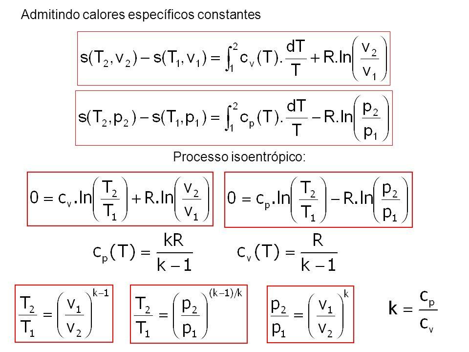 Admitindo calores específicos constantes
