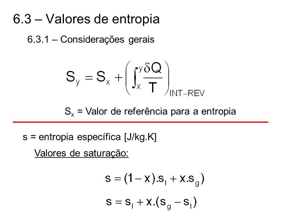 6.3 – Valores de entropia 6.3.1 – Considerações gerais