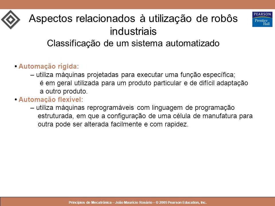 Aspectos relacionados à utilização de robôs industriais Classificação de um sistema automatizado