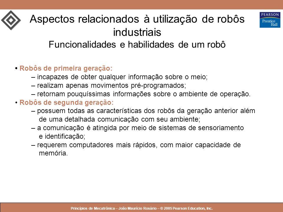 Aspectos relacionados à utilização de robôs industriais Funcionalidades e habilidades de um robô