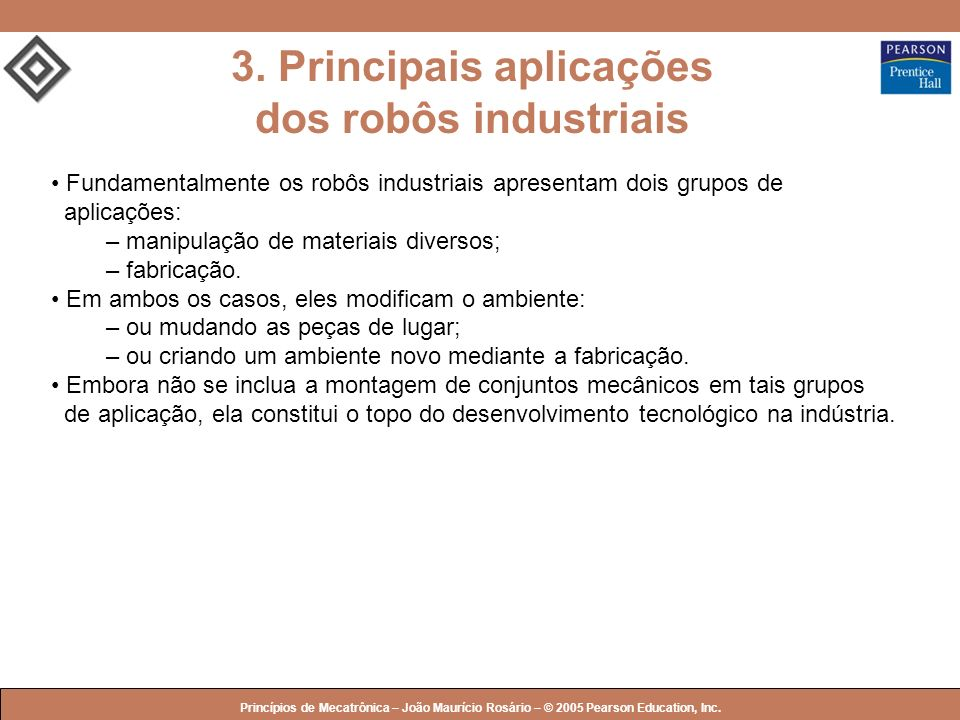 3. Principais aplicações dos robôs industriais