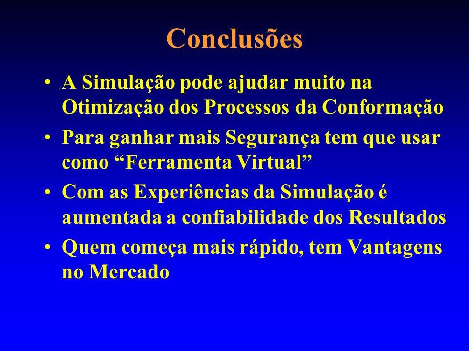 Conclusões A Simulação pode ajudar muito na Otimização dos Processos da Conformação.