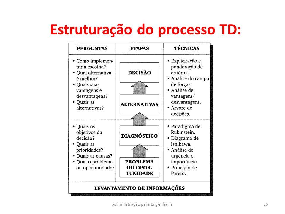 Estruturação do processo TD: