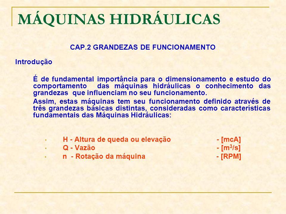 MÁQUINAS HIDRÁULICAS CAP.2 GRANDEZAS DE FUNCIONAMENTO Introdução