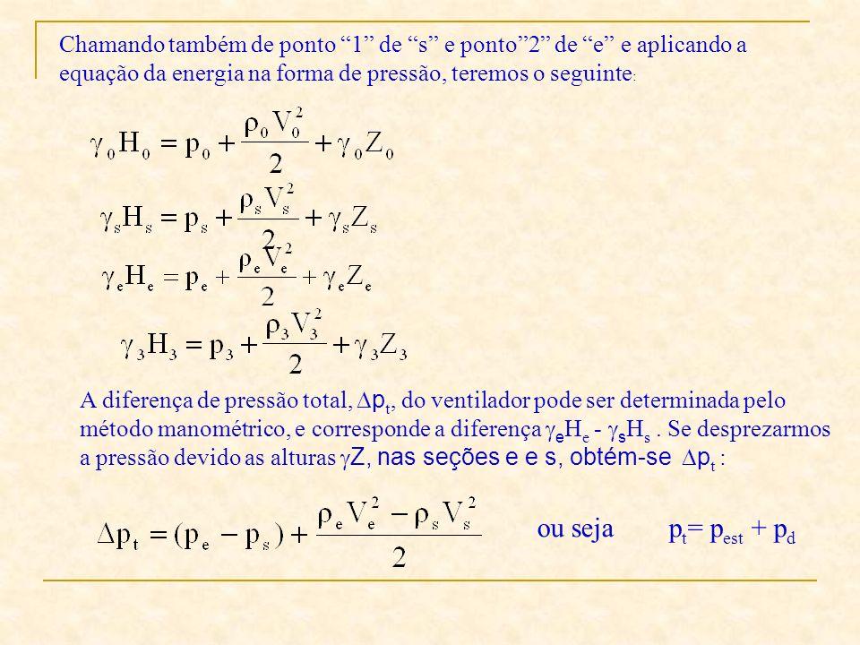 Chamando também de ponto 1 de s e ponto 2 de e e aplicando a equação da energia na forma de pressão, teremos o seguinte: