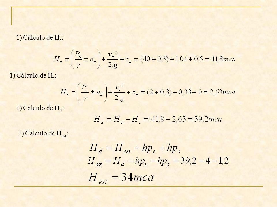Cálculo de He: Cálculo de Hs: Cálculo de Hd: Cálculo de Hest: