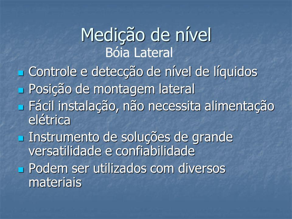Medição de nível Bóia Lateral Controle e detecção de nível de líquidos