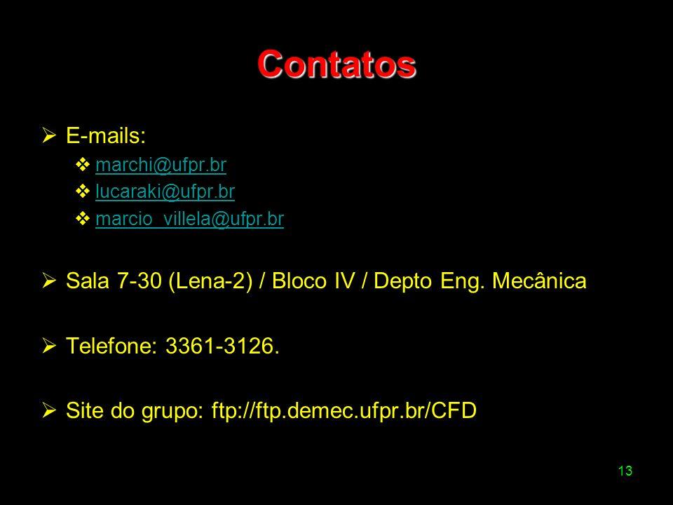 Contatos E-mails: Sala 7-30 (Lena-2) / Bloco IV / Depto Eng. Mecânica