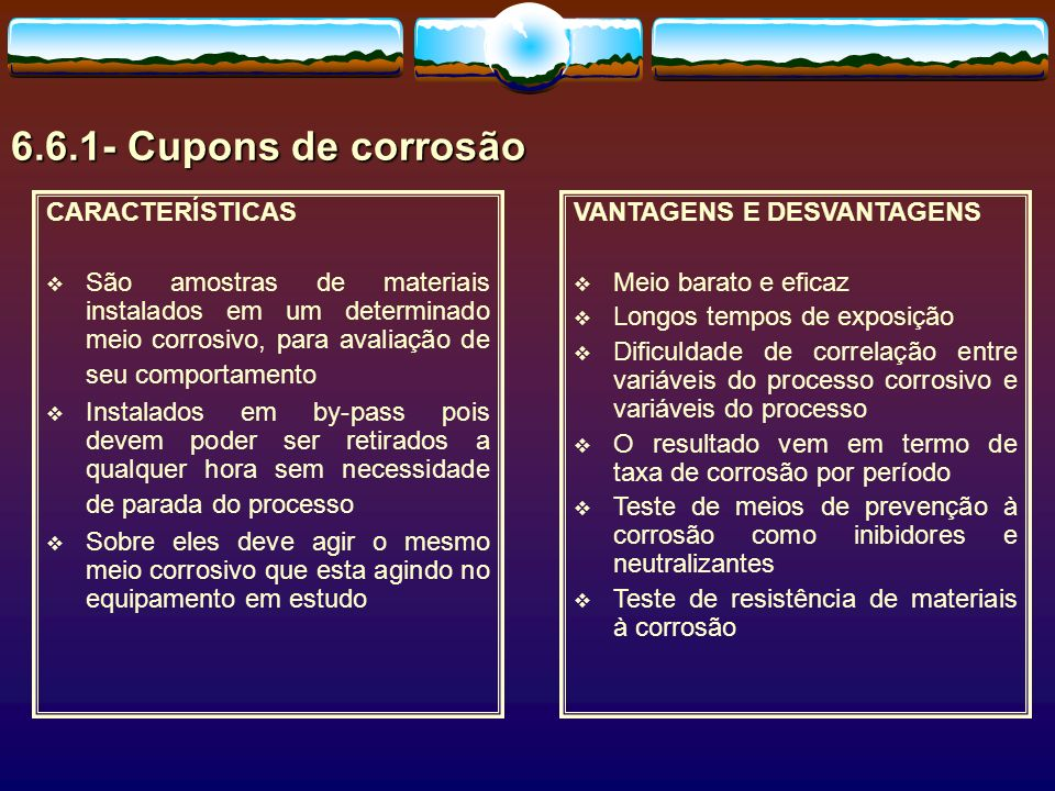 6.6.1- Cupons de corrosão CARACTERÍSTICAS