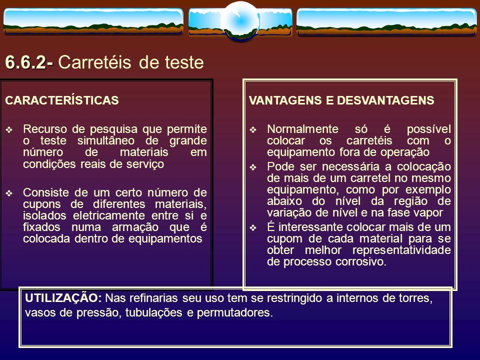 6.6.2- Carretéis de teste CARACTERÍSTICAS