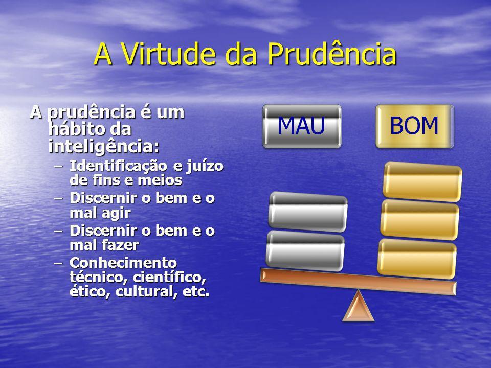 A Virtude da Prudência A prudência é um hábito da inteligência: