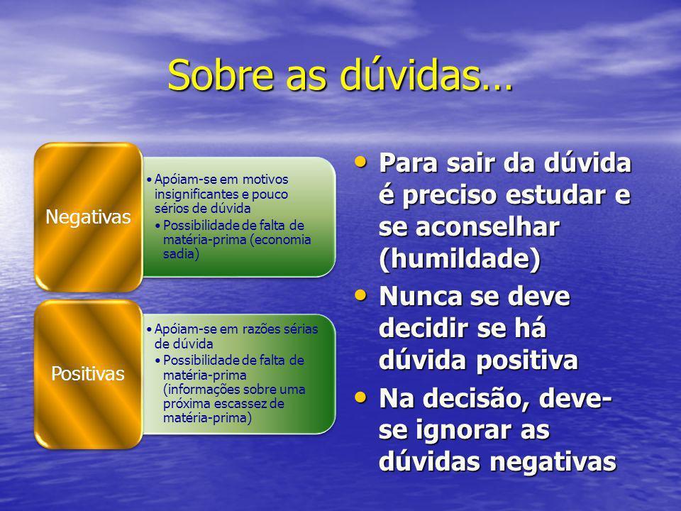 Sobre as dúvidas… Negativas. Apóiam-se em motivos insignificantes e pouco sérios de dúvida.