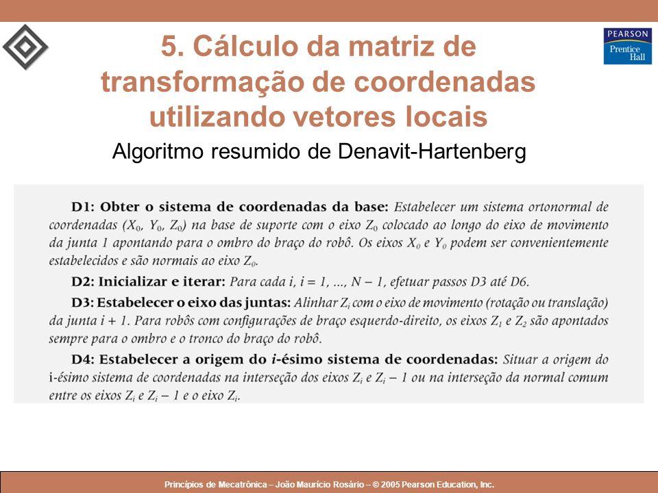 5. Cálculo da matriz de transformação de coordenadas utilizando vetores locais