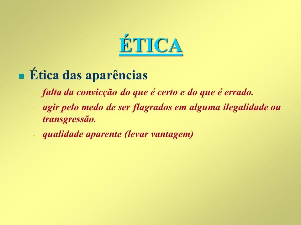 ÉTICA Ética das aparências