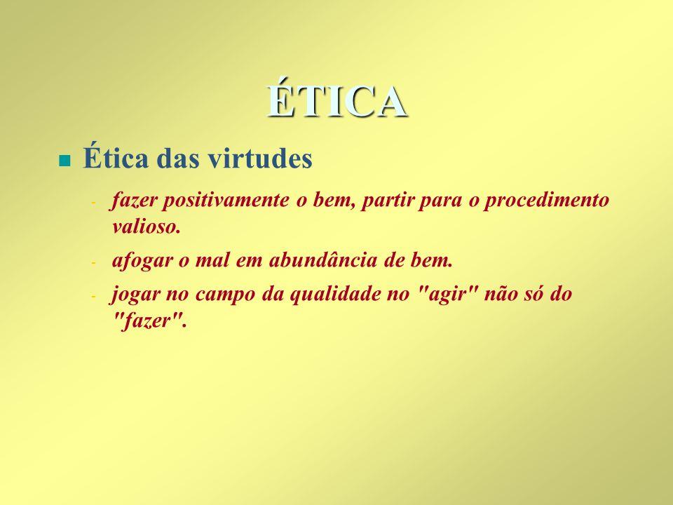 ÉTICA Ética das virtudes