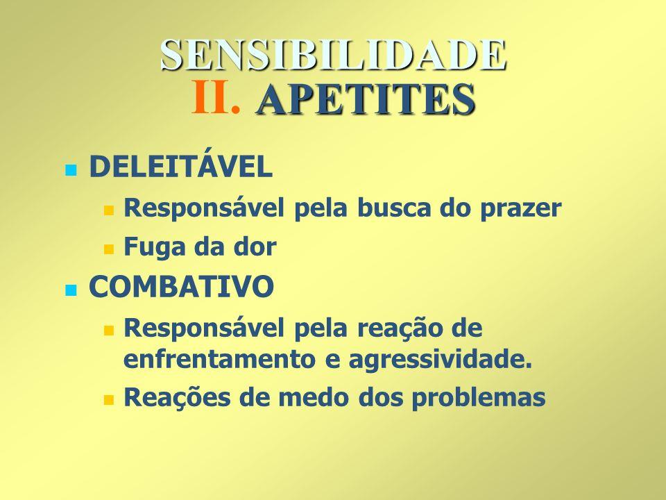 II. APETITES SENSIBILIDADE DELEITÁVEL COMBATIVO