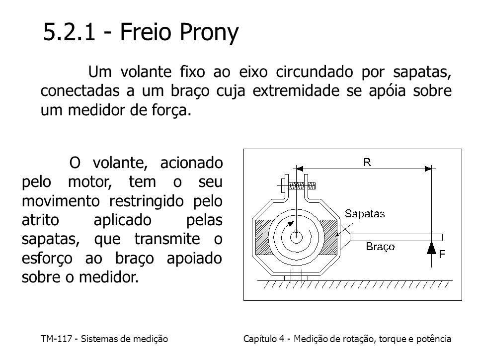5.2.1 - Freio Prony Um volante fixo ao eixo circundado por sapatas, conectadas a um braço cuja extremidade se apóia sobre um medidor de força.