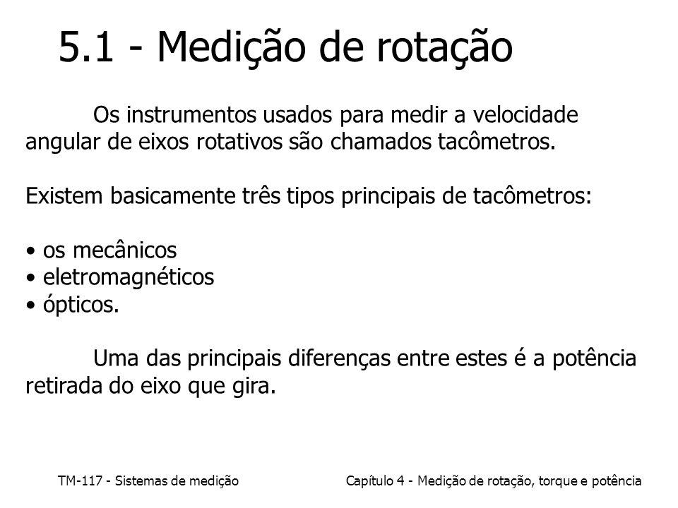 5.1 - Medição de rotação Os instrumentos usados para medir a velocidade angular de eixos rotativos são chamados tacômetros.