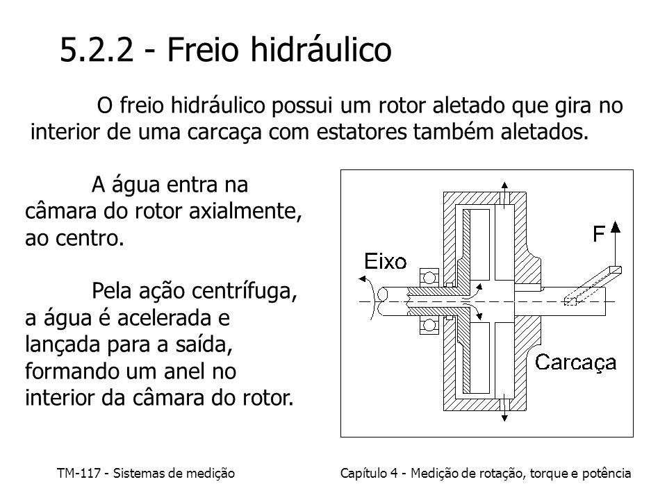 5.2.2 - Freio hidráulico O freio hidráulico possui um rotor aletado que gira no interior de uma carcaça com estatores também aletados.