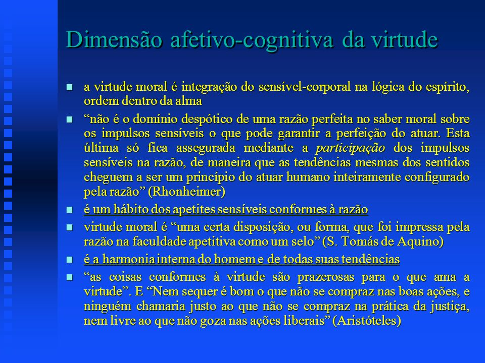 Dimensão afetivo-cognitiva da virtude