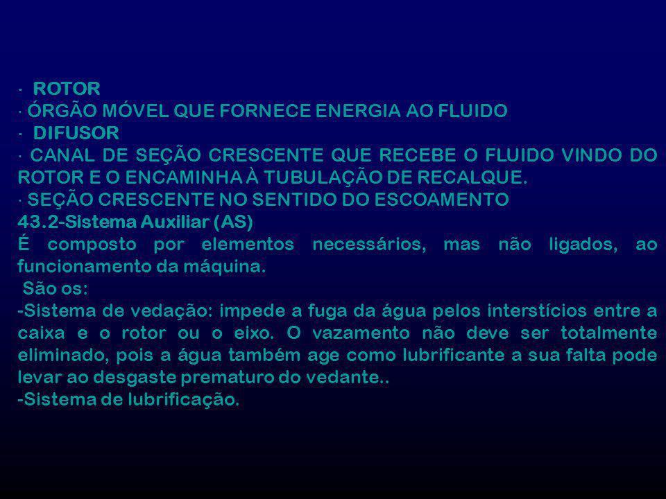 ⋅ ROTOR ⋅ ÓRGÃO MÓVEL QUE FORNECE ENERGIA AO FLUIDO. ⋅ DIFUSOR.