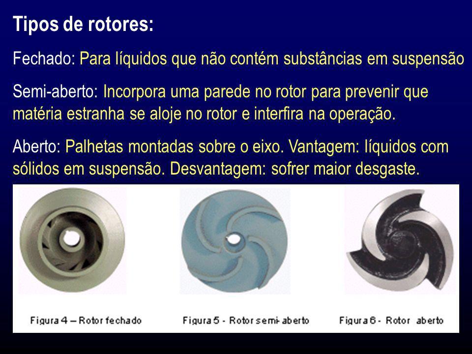 Tipos de rotores: Fechado: Para líquidos que não contém substâncias em suspensão.