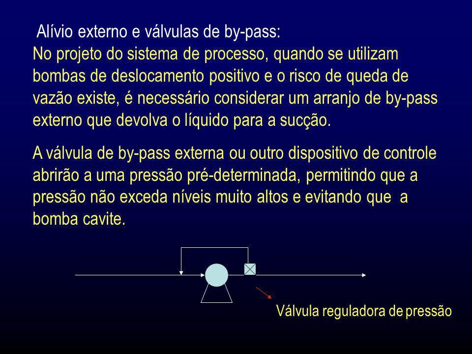 Alívio externo e válvulas de by-pass: No projeto do sistema de processo, quando se utilizam bombas de deslocamento positivo e o risco de queda de vazão existe, é necessário considerar um arranjo de by-pass externo que devolva o líquido para a sucção.