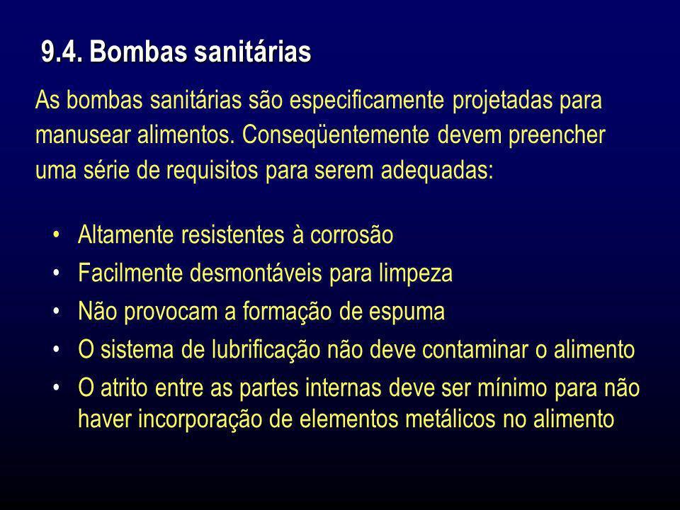 9.4. Bombas sanitáriasAs bombas sanitárias são especificamente projetadas para. manusear alimentos. Conseqüentemente devem preencher.
