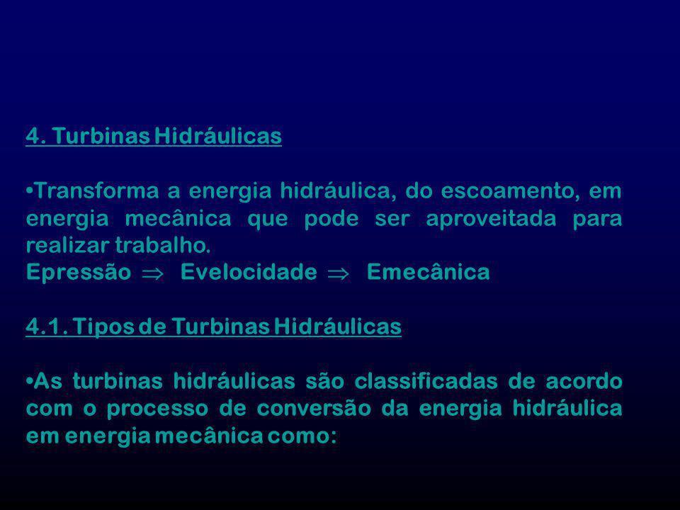 4. Turbinas Hidráulicas •Transforma a energia hidráulica, do escoamento, em energia mecânica que pode ser aproveitada para realizar trabalho.