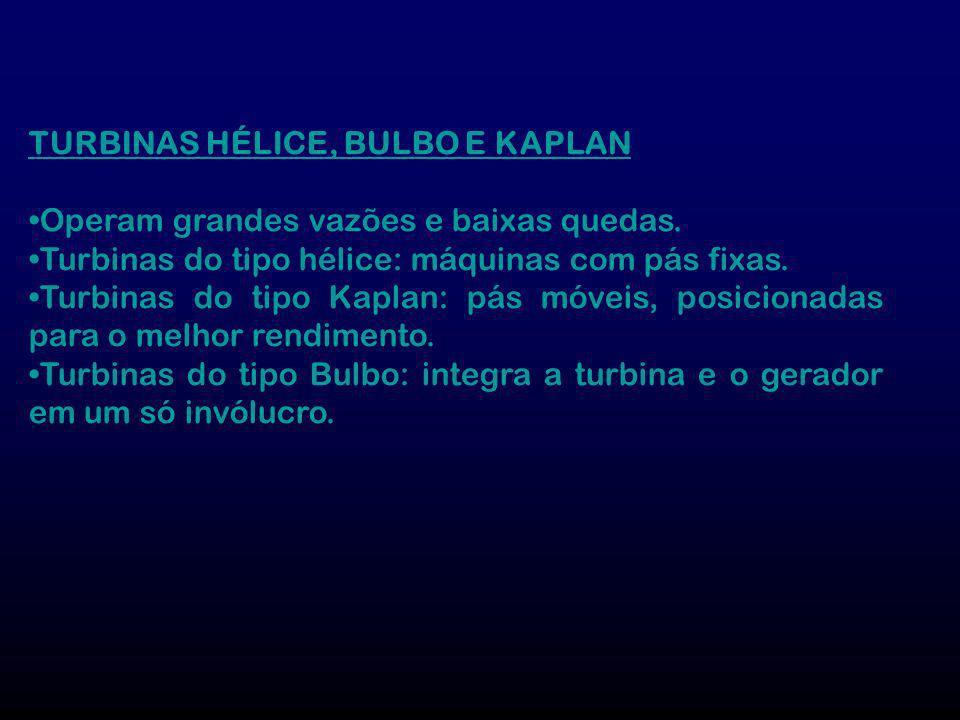TURBINAS HÉLICE, BULBO E KAPLAN