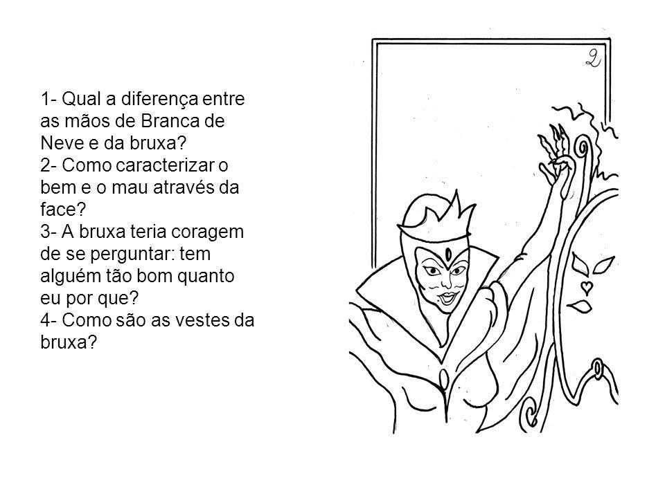 1- Qual a diferença entre as mãos de Branca de Neve e da bruxa